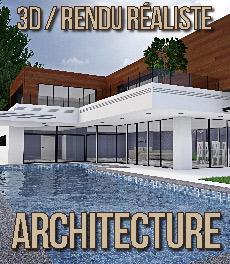 Graphisme 3D - rendu architecture exterieur - perspective 3D